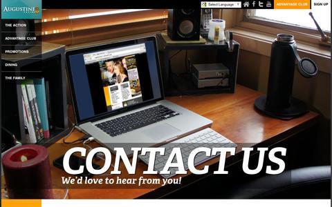 Screenshot of Contact Page augustinecasino.com - Contact - Augustine Casino - captured Dec. 27, 2015