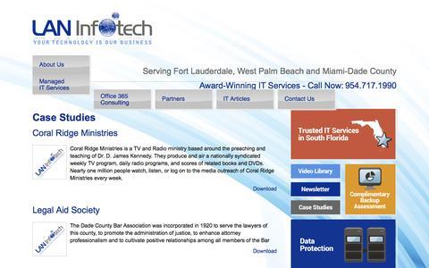 Screenshot of Case Studies Page laninfotech.com - Case Studies - Fort Lauderdale IT Company - captured Oct. 1, 2014