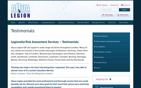 Screenshot of Testimonials Page aqualegion.com - Testimonials - Aqua Legion London, UK - captured Oct. 4, 2018