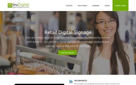 Screenshot of Home Page trudigital.com - truDigital Signage » Cloud-Based Digital Signage - captured Oct. 9, 2014