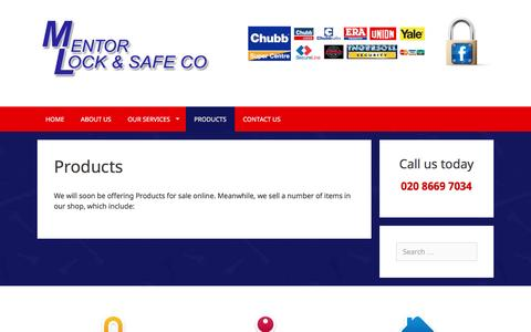 Screenshot of Products Page mentorlock.co.uk - Products - Mentor Lock & Safe Co, London - Banstead, Sutton, Wallington - captured June 4, 2016