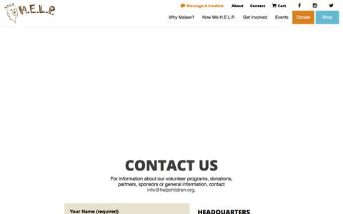 Screenshot of Contact Page helpchildren.org - Contact Us - H.E.L.P. - captured Sept. 25, 2018