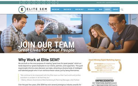 Screenshot of Jobs Page elitesem.com - Careers   Digital Marketing Jobs   SEO, SEM & CRO Jobs - captured Nov. 20, 2015