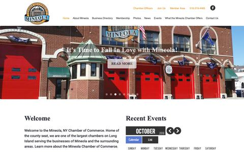 Screenshot of Home Page mineolachamber.com - Mineola Chamber of Commerce, Mineola, New York, 11501 - captured Oct. 18, 2018