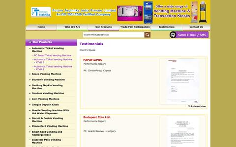 Screenshot of Testimonials Page futuretechniks.in - Testimonials | Future Techniks India Private Limited - captured Oct. 6, 2014