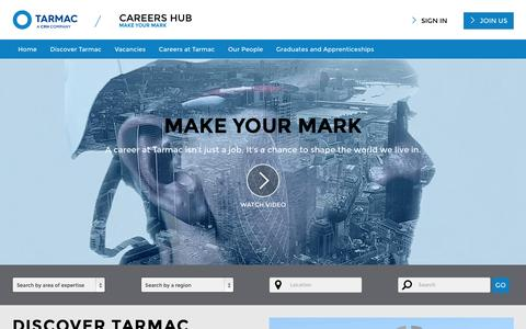 Screenshot of Home Page tarmaccareers.com - Tarmac Careers - captured March 1, 2016