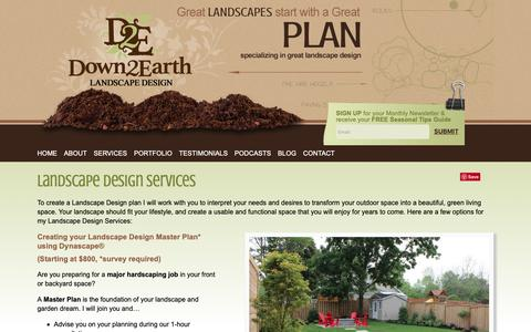 Screenshot of Services Page down2earth.ca - Landscape Design and Garden Design Services serving Durham Region Down 2 Earth - captured Oct. 9, 2018