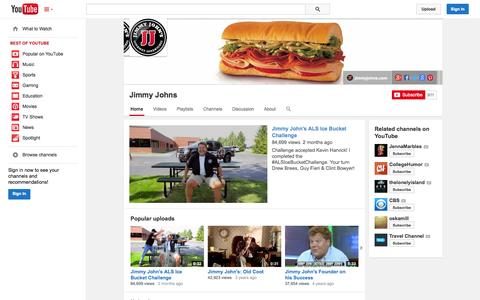 Screenshot of YouTube Page youtube.com - Jimmy Johns  - YouTube - captured Oct. 23, 2014