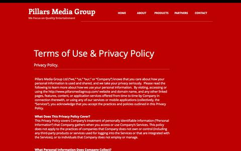 Screenshot of Terms Page pillarsmediagroup.com - Pillars Media Group - a leading global game publisher | Terms of Use - captured July 18, 2018