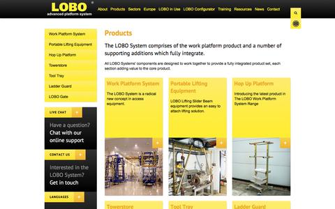 Screenshot of Products Page lobosystems.com - Products | LOBO Work Platform Systems - captured July 9, 2017