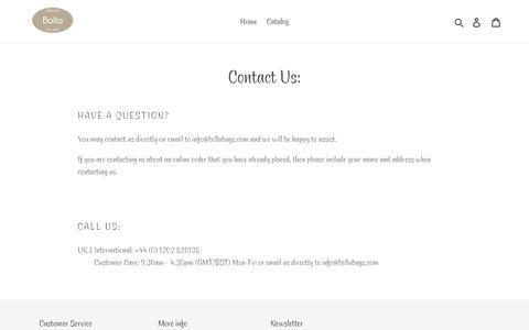 Screenshot of Contact Page bollabags.com - Contact Us: – Bolla Bags - captured Nov. 13, 2018