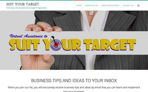 Screenshot of Home Page suityourtarget.com - Suit Your Target - First class virtual assistance to get things done! - captured June 17, 2015