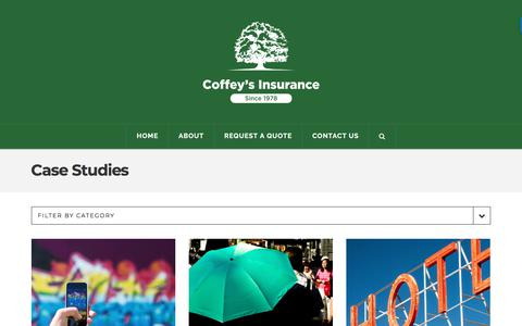 Screenshot of Case Studies Page coffeys.co - Case Studies | Coffey's Insurance - captured July 8, 2018