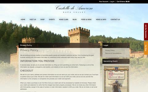Screenshot of Privacy Page castellodiamorosa.com - Castello di Amorosa - Legal - Privacy Policy - captured June 1, 2018