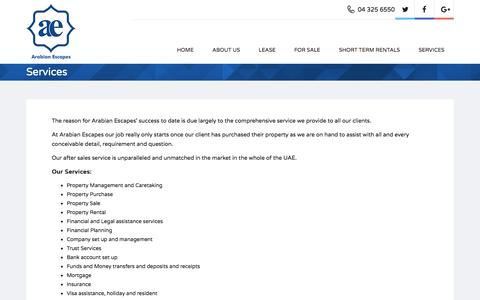 Screenshot of Services Page arabianescapes.com - Services - Arabian Escapes - captured Oct. 8, 2017