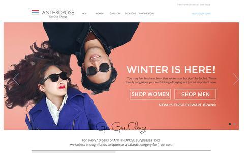 Screenshot of Home Page anthropose.com - Shop Anthropose Sunglasses | Nepal's first sunglass brand - captured Jan. 14, 2016