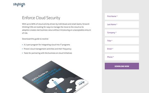 Screenshot of Landing Page skyhighnetworks.com - Enforce Cloud Security - Skyhigh Networks - captured Oct. 27, 2014