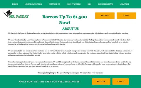 Screenshot of About Page mrpayday.com - About Us - captured Oct. 19, 2018