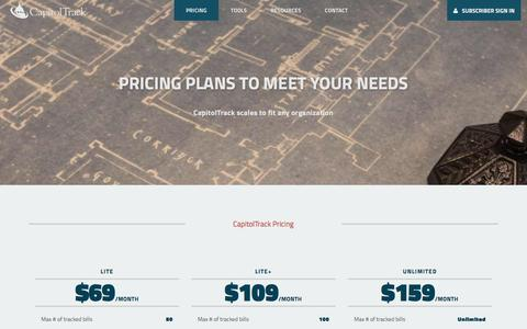 Screenshot of Pricing Page capitoltrack.com - CapitolTrack   Pricing - captured March 9, 2016
