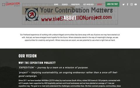 Screenshot of About Page theexpeditionproject.com - About - The Expedition Project - captured Sept. 20, 2018
