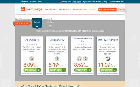 Screenshot of Signup Page directenergy.com - Residential Electricity Plans for North America | Direct Energy - captured June 25, 2018