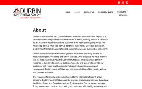 Screenshot of About Page durbinvalve.com - About – Durbin Industrial Valve Inc. - captured Oct. 13, 2017