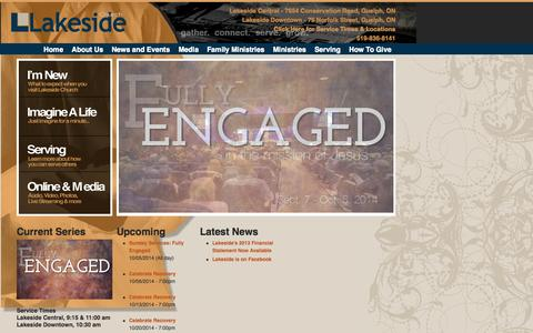 Screenshot of Home Page lakesidechurch.ca - Home | Lakeside Church - captured Sept. 30, 2014