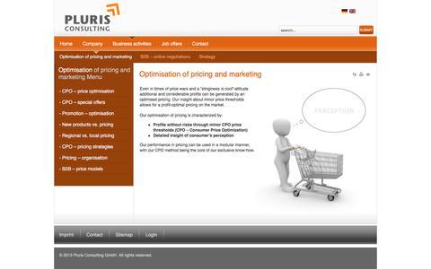 Screenshot of Pricing Page pluris.de - Optimisation of pricing and marketing - captured Jan. 29, 2016