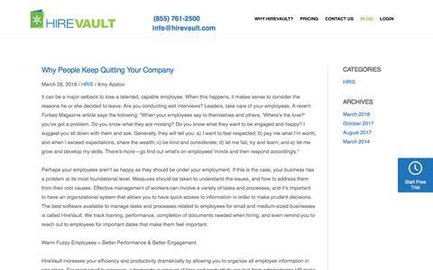 Screenshot of Blog hirevault.com - Blog - HireVault: Your Complete HRIS Management Software for Small to Medium Business - captured July 20, 2018