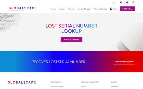 Lost Serial Number Lookup | Globalscape