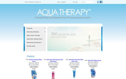 Screenshot of Products Page aquadeadsea.com - Products | Aqua Therapy - captured Oct. 4, 2014