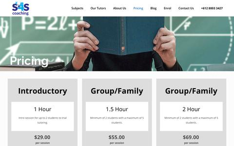 Screenshot of Pricing Page s4scoaching.com.au - Pricing - S4S Coaching - Tuition tailored to you - captured Nov. 5, 2018
