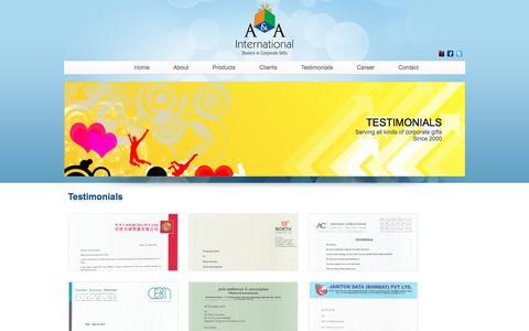 Screenshot of Testimonials Page aaintl.net - A&A International   Testimonials - captured Nov. 19, 2016