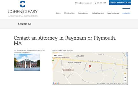 Screenshot of Contact Page Maps & Directions Page cohencleary.com - Raynham MA Attorney | Contact Cohen Cleary, P.C. - captured Nov. 8, 2016