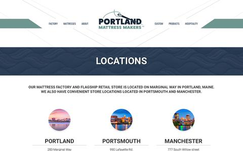 Screenshot of Locations Page portlandmattressmakers.com - Portland Mattress Makers  Locations - captured July 20, 2018
