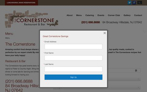 Screenshot of Menu Page thecornerstonenj.com - Menu   The Cornerstone Restaurant - captured Feb. 15, 2016