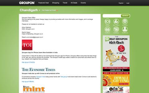 Screenshot of Press Page groupon.co.in - Best deals in Delhi, Bangalore, Mumbai, Kolkata on gadgets, travel, restaurants, spas, wellness, fitness - captured Sept. 19, 2014