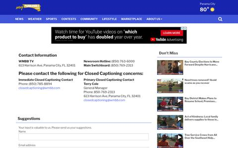 Screenshot of Contact Page mypanhandle.com - Contact Us - captured Oct. 18, 2018