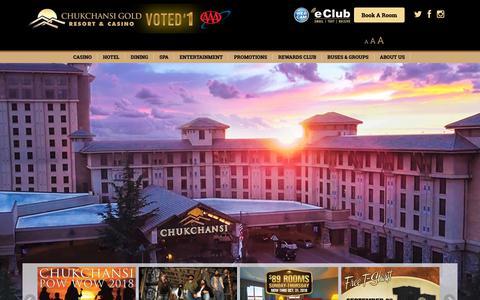 Screenshot of Home Page chukchansigold.com - Home - Chukchansi Gold Resort & Casino - captured Sept. 28, 2018