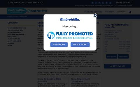 Screenshot of Jobs Page embroidme.com - Custom uniforms, Logo t shirt,Careers, Job Opportunities | EmbroidMe of Costa Mesa, CA - captured May 17, 2017