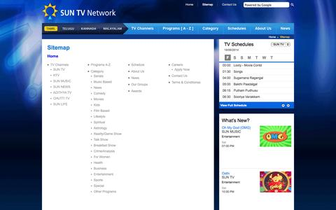 Screenshot of Site Map Page sunnetwork.in - SunNetwork - Sitemap - captured Sept. 19, 2014