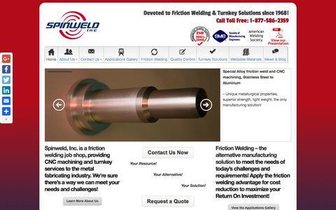 Screenshot of Home Page spinweld.com - Home - Spinweld, Inc - captured July 31, 2017
