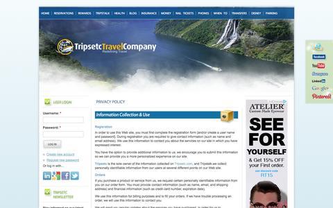 Screenshot of Privacy Page tripsetc.com - Privacy Policy - Travel Deal Websites  | Tripsetc - captured Nov. 2, 2014