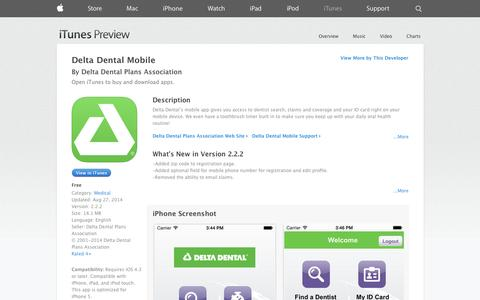 Screenshot of iOS App Page apple.com - Delta Dental Mobile on the App Store on iTunes - captured Oct. 25, 2014