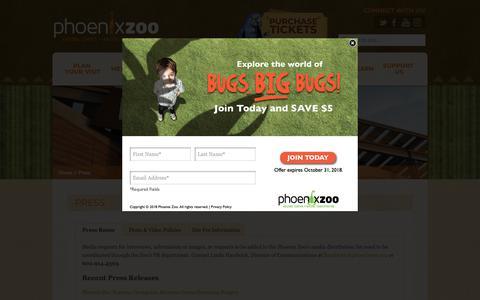 Screenshot of Press Page phoenixzoo.org - Press - Phoenix Zoo - captured Oct. 2, 2018