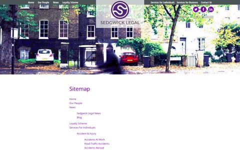 Screenshot of Site Map Page sedgwick-legal.co.uk - SitemapSolicitors - Manchester - captured Aug. 16, 2015
