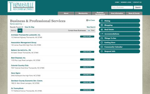 Screenshot of Services Page thomasvillechamber.net - Business & Professional Services - Thomasville Area Chamber of Commerce - captured Feb. 16, 2016