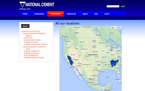 Screenshot of Locations Page nationalcement.com - All our locations | National Cement - captured Oct. 6, 2014