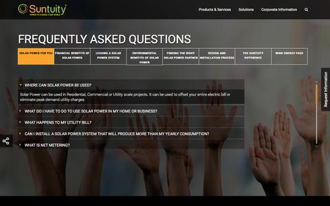 Screenshot of FAQ Page suntuity.com - Suntuity: Solar Power System Frequently Asked Questions (FAQs) - captured Aug. 16, 2016