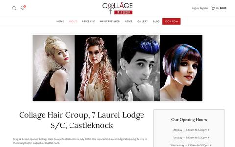 Screenshot of About Page collagehg.ie - About our salon - E-commerce - captured Sept. 29, 2018